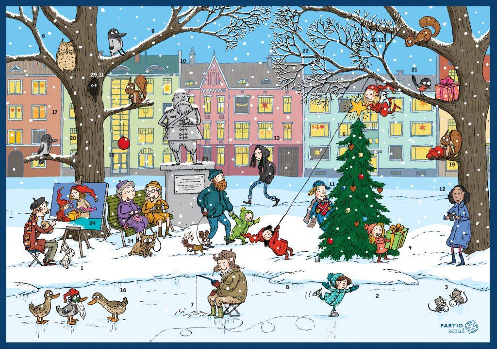 Partiolaisten adventtikalenteri, värikäs talvimaisema kaupungissa.